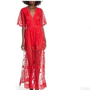 Socialite maxi dress romper red lace small